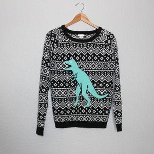 Xhilaration Fair Isle T-Rex Crew Neck Sweater sz M